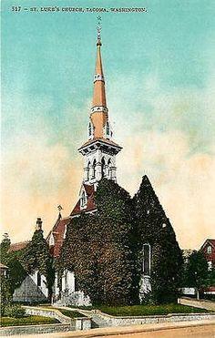 Tacoma Washington WA 1908 St Luke's Church Collectible Antique Vintage Postcard