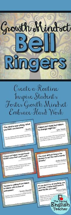 Help your students develop a growth mindset with these inspirational bell ringers.