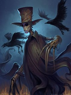 My new Halloween character, some kind of robot-scarecrow that speaks with birds, especially with crows. Jenkin the scarecrow Fantasy Character Design, Character Design Inspiration, Character Art, Fantasy Monster, Monster Art, Arte Horror, Horror Art, Dark Fantasy Art, Fantasy Artwork