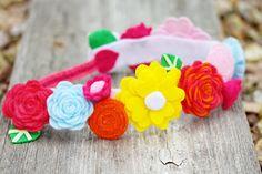 Spring Felt Flower Crown - Flower Girl Headband- Birthday Crown