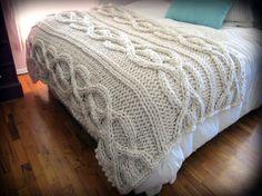 Luxury Oversized Cable Knit Blanket Wool Blend  by OzarksMomma, $275.00