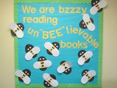 """Lorri's School Library Blog-We are bzzzy reading un""""BEE""""lievable books --Spring-summer bulletin board."""