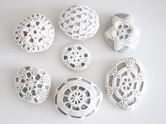 Crocheted Lace Covered Pebbles
