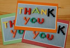"""Ultimate Lego Party - Thank You Notes These were super easy thank you notes to whip up. I had them all printed and ready to go before we even had the party. I used bricks to spell out the words """"Thank You"""", took a picture of it with my camera and then printed out the photos as 3x5 prints. I had some solid colored 4x6 cards with envelopes from Target which I adhered the pictures to. Viola! An easy and cute thank you note to go with our Lego theme"""