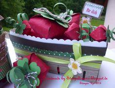 Erdbeerzeit Sommerzeit  Doppelkörbchen mit Erdbeeren aus Papier . Idee bei Stempeltissimo.blogspot.de Stampin Up, Cake, Desserts, Summer, Handmade, Paper, Summer Time, Marmalade, Strawberries