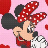 Minnie Mouse Heart Afghan Blanket Crochet Pattern