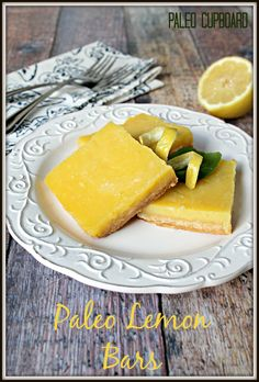 #Paleo Lemon Bar Recipe - www.PaleoCupboard.com  Delicious Paleo Dessert!