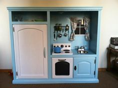 Here are cool kitchen playsets made from entertainment centers. Creative, more realistic, and recycled - better than the plastic playsets!  http://theownerbuildernetwork.co/easy-diy-projects/diy-projects-for-kids/diy-playhouses-and-kitchens/