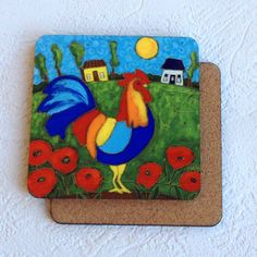 Sous-verre • Coq coloré - reproductions des toiles d'isabelle Malo Isabelle, Coq, Illustrations, Rooster, Kids Rugs, Gifts, Home Decor, Canvases, Gift
