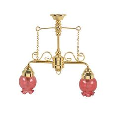 Two Arm Chandelier with Rosy Shades