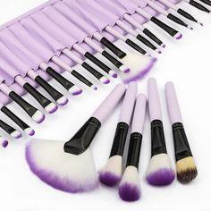Pink 32 Pcs Make Up Tools Cosmetic Makeup Brush Set Kit + Pouch Bag Case