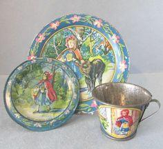 3 PC Vintage Ohio Art Children Red Riding Hood Wolf Tin Tea Set Cup Saucer Plate | eBay
