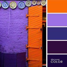Door Inspiration: Orange and Purple Purple Walls, Purple Door, Orange Walls, Unique Doors, Colour Schemes, Color Combos, Colour Palettes, Combination Colors, Orange And Purple