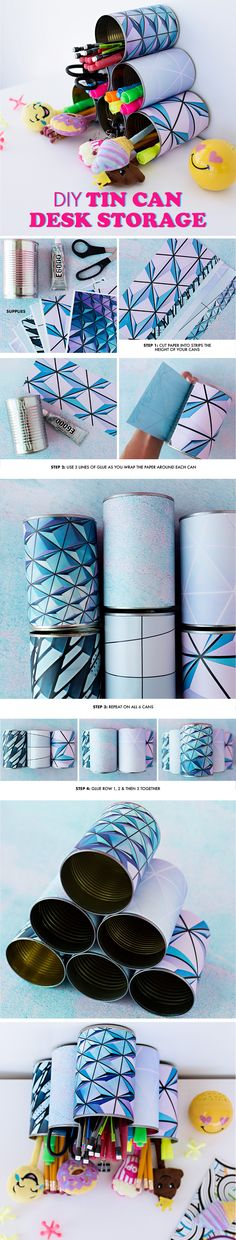 Diy Projects Cans, Projects To Try, Cute Crafts, Diy And Crafts, Staying Organized, Diy Fashion, Cool Stuff, Random Stuff, Desk Storage