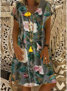 Women Summer Short Sleeve Cotton Linen Dress Vestido Robe Kaftan Femme Vintage V Neck Floral Printed Party Sundress Color Dark Grey Size S Day Dresses, Plus Size Dresses, Casual Dresses, Summer Dresses, Vacation Dresses, Trendy Dresses, Fashion Dresses, Short Sleeve Dresses, Dresses With Sleeves