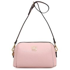 Solid Color Metal Letter Crossbody Bag Pink (63 BRL) ❤ liked on Polyvore featuring bags, handbags, shoulder bags, white purse, pink crossbody, white cross body purse, pink purse and crossbody purses