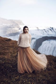 Waterfall in Iceland |Editorial Fashion Shooting for mybestbrands | style: feminine, melancholic, winter princess