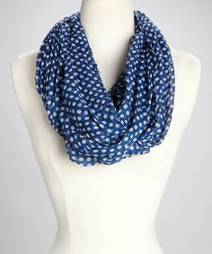 Another great find on #zulily! Blue & White Dot Infinity Scarf by TROO #zulilyfinds