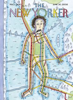 """The New Yorker - Monday, June 30, 2008 - Issue # 4268 - Vol. 84 - N° 19 - Cover """"Subway Man"""" by Roz Chast"""