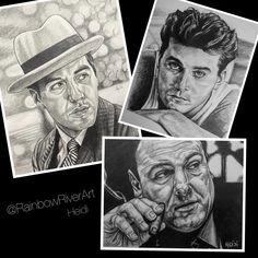 The #capiscefacesseries so far! Many more to come! #rainbowriverart 🏽🖤🇮🇹🗽 #newyork #newjersey #rayliotta #alpacino #jamesgandolfini #goodfellas #godfather #thesopranos Rainbow River, Ray Liotta, Al Pacino, The Godfather, Hyde, Graphite, Pencil, Sketches, Fine Art