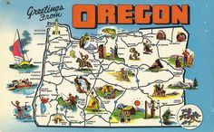 aaww...i miss Oregon. There's so many places i didn't get to see before i moved away. But i shall return! Oregon Map, Oregon Road Trip, State Of Oregon, Oregon Travel, Travel Maps, Travel Posters, Travel Usa, Vintage Maps, Vintage Postcards