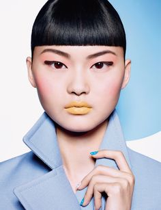 He Cong Models a Pop of Color for Dior Magazine