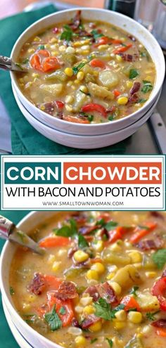 Corn Chowder is a hearty winter recipe full of fresh sweet corn, tender chunks of potato and crispy bacon in a creamy chicken broth base that is lightly seasoned and flavorful. This recipe is quick to come together and is the perfect idea for cold nights. Potato Corn Chowder, Bacon Potato, Best Soup Recipes, Chili Recipes, Chowder Recipes, Lunch Recipes, Easy Family Meals, Quick Meals, Comfort Food