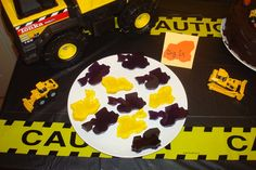 Food idea - jello jigglers.  Need to find construction cookie cutters.