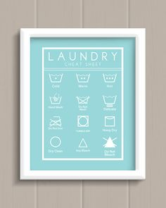 Laundry Room Cheat Sheet Art Print - cute AND functional artwork!
