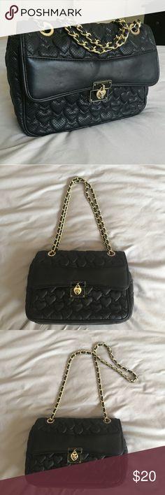 314fa62f7c Betsey Johnson Black Shoulder Bag with Gold Chain Listing a black Betsey  Johnson crossbody shoulder
