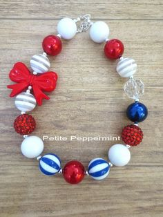 Red White Blue Toddler Necklace, Girl Necklace, Children Necklace, Girl Chunky Necklace, Chunky Bead Necklace, Baby Chunky Necklace