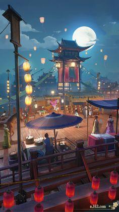 Fantasy Art Landscapes, Fantasy Landscape, Fantasy Artwork, Anime Scenery Wallpaper, Wallpaper Backgrounds, Animes Wallpapers, Cute Wallpapers, Aesthetic Art, Aesthetic Anime