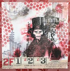 Special, katzelkraft  rubber stamps - Tuesday sample - created with Bistre, PanPAstel and Tapes by Daniela Rogall