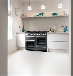 Rangemaster Nexus 110 range cooker | modern white kitchen with granite worktop and glass splashback