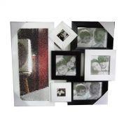 Painel multi-fotos, branco e preto, com espelho.