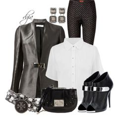 Blazer and A Collared Blouse