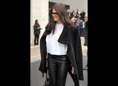 leather pant, coat hanging on shoulders