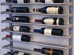 Wine rack made from Ikea towel bar. This is from ikea Ikea Hackers, Storage Hacks, Wine Storage, Food Storage, Hanging Storage, Ikea Kitchen, Kitchen Hacks, Kitchen Island, Kitchen Cabinets