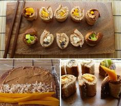 Peanut Butter Fruit Sushi: Sushi Recipes for Kids. Fresh apple and mango slices give them some body, while accents like raisins and toasted coconut make 'em sweet.