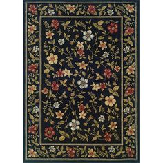 A vibrant floral pattern accentuates this machine-woven rug of a durable stain resistant construction in black, green, gold, red and blue. Add style and texture to your decor with this allergen-free rug.
