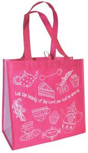 Reusable Shopping Bag: Let the Beauty of the Lord (Pink With Lavender Sides)