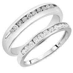 wedding bands his and hers | ... His And Hers Wedding Band Set 14K White Gold | Wedding Band Sets | My