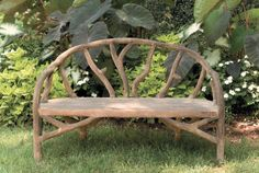 Currey and Company Arbor Faux Bois Bench A steel framework is covered with concrete and sculpted to look like tree branches on this unique bench. The rustic style is organic yet chic and moves with ease both indoors and out. Rustic Outdoor Furniture, Twig Furniture, Driftwood Furniture, Western Furniture, Garden Furniture, Outdoor Decor, Modern Furniture, Antique Furniture, Furniture Ideas