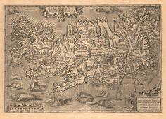 Vintage infographic / visualization / map,  Iceland (1585) | Abraham Ortelius