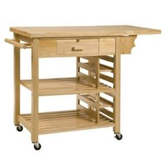 Trueshopping 'Ashby' Natural Pine Utility Kitchen Trolley / Cart / Island Butchers Block BBQ Trolley with Shelves, Drawer, Wheels Outdoor Garden Furniture