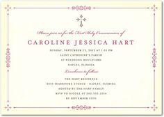 Communion Invitations Vibrant Frame - Front : Begonia