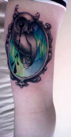 Owl + aurora borealis tattoo.