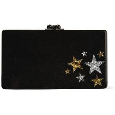 Edie Parker Jean Star Cluster glittered acrylic box clutch (€1.285) ❤ liked on Polyvore featuring bags, handbags, clutches, edie parker, black, clasp purse, acrylic clutches, edie parker clutches, glitter purse and glitter clutches