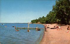 Chrome Postcard Beach Scene at Lake Bemidji State Park Minnesota Bemidji Minnesota, Campfires, Beach Scenes, Natural Resources, State Parks, Postcards, To Go, Lost, Sky