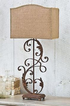 Iron Scroll Lamp - Iron Scroll Lamp, Rusted Finish, Lighting | Soft Surroundings